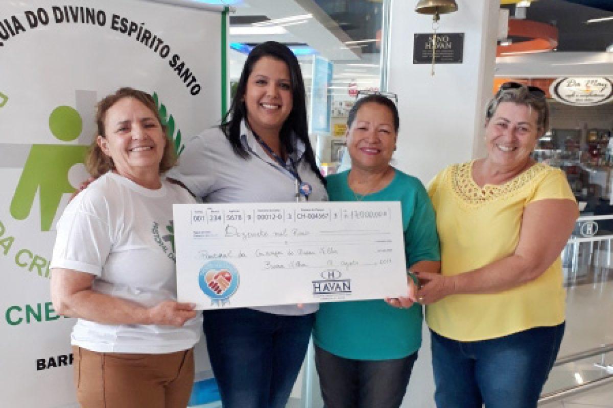 Havan entrega 17 mil reais da Campanha Troco Solidário à Pastoral da Criança