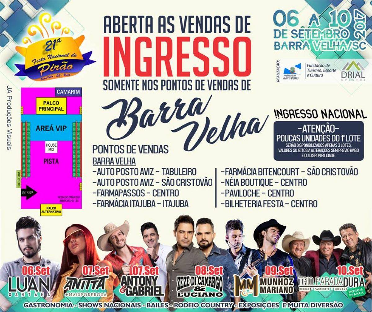 """<span class=""""hot"""">Hot <i class=""""fa fa-bolt""""></i></span> Venda de Ingressos para shows nacionais da 21ª Festa Nacional do Pirão"""